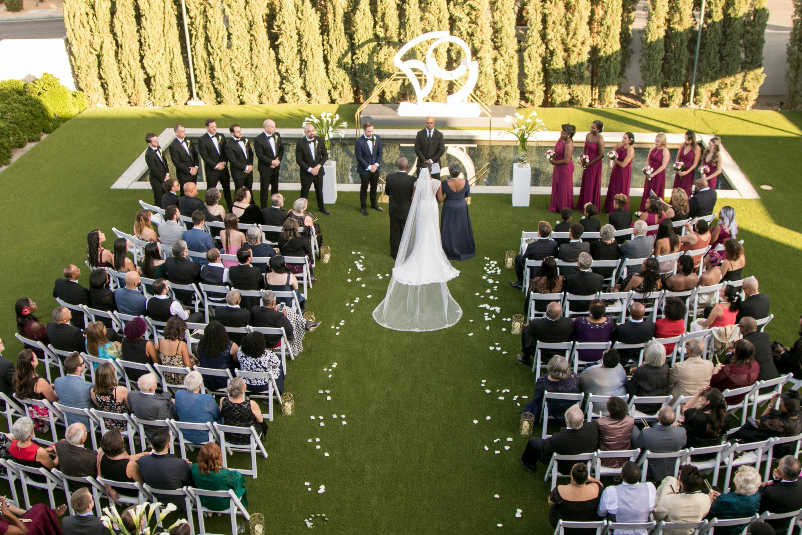 An aerial view of outdoor wedding ceremony   PartySlate