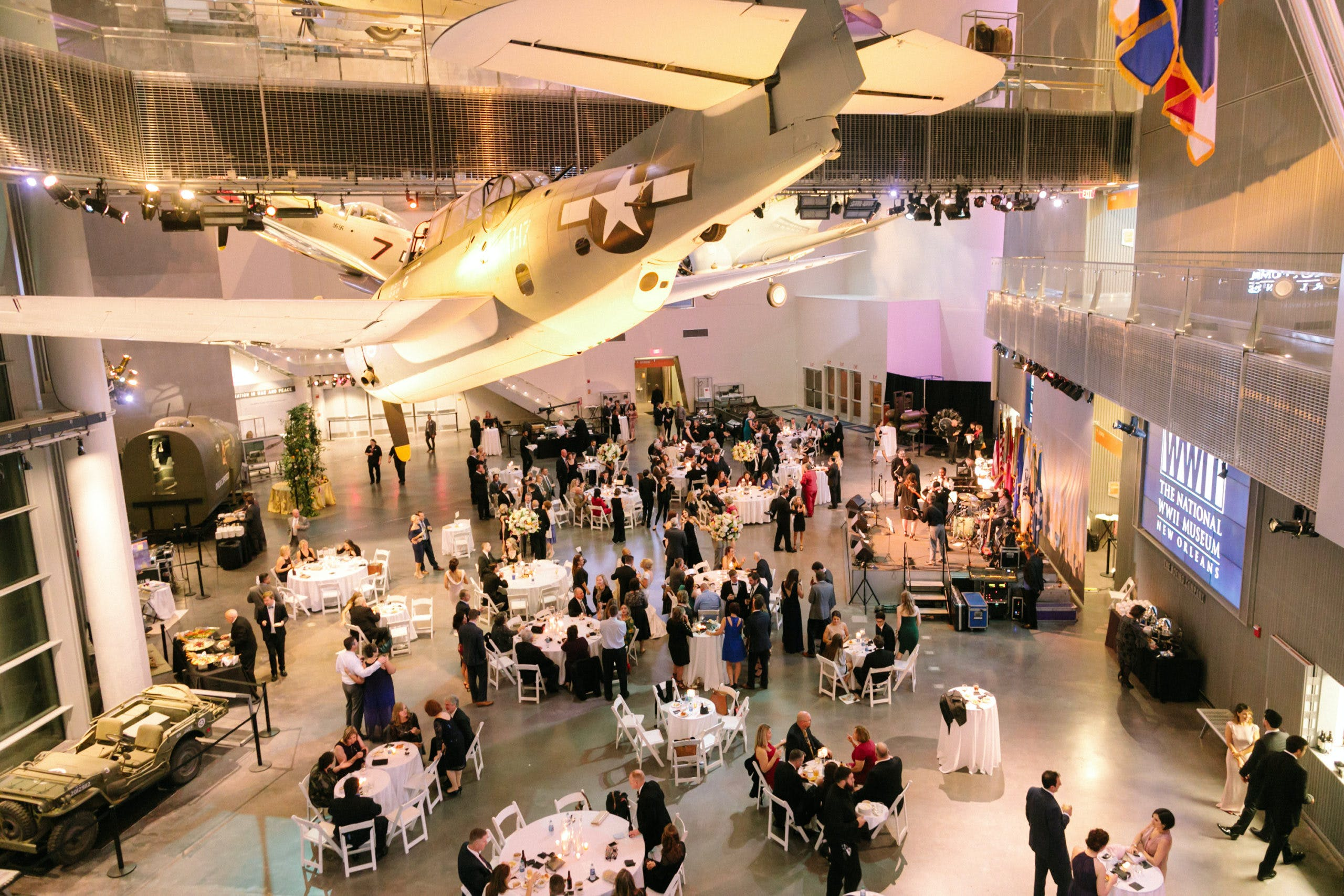Higher view of reception venue filled with people l PartySlate