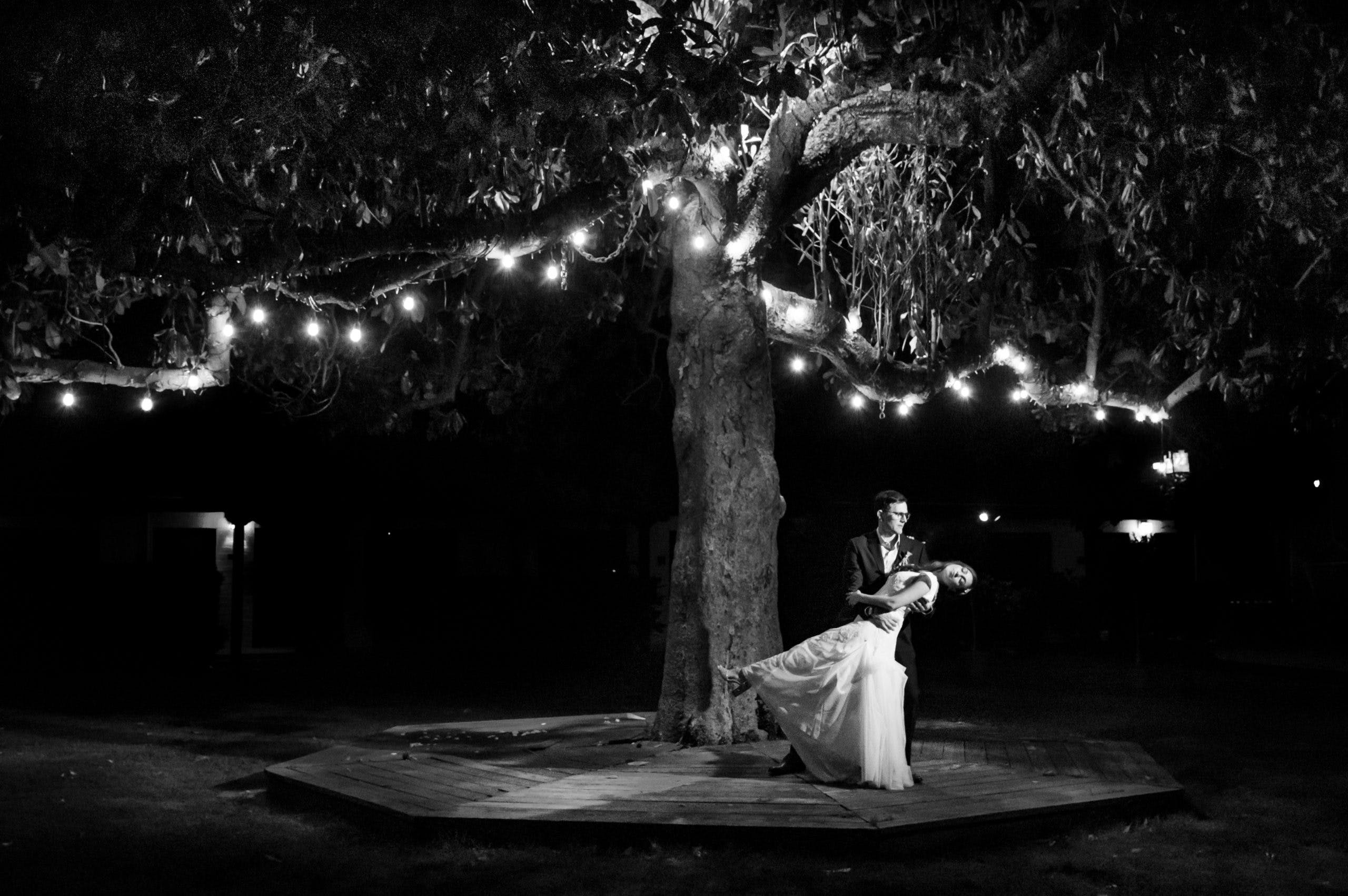 Groom dipping bride under string lit tree   PartySlate
