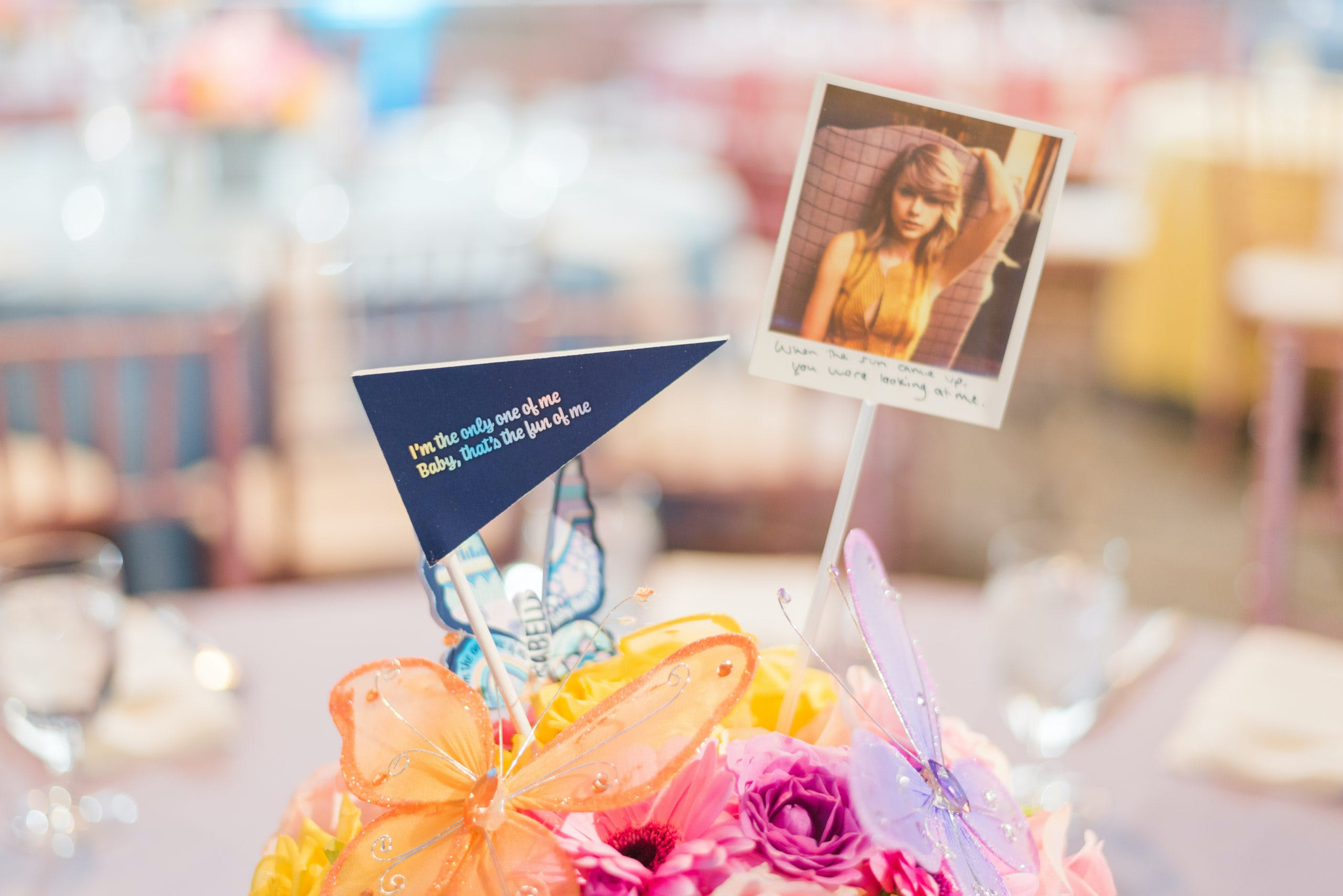 Taylor Swift-Themed Centerpiece With Butterfly Details at Quinceañera Party | PartySlate