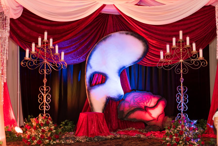 Broadway-Inspired Quinceañera With Phantom of the Opera Photo Op Backdrop | PartySlate