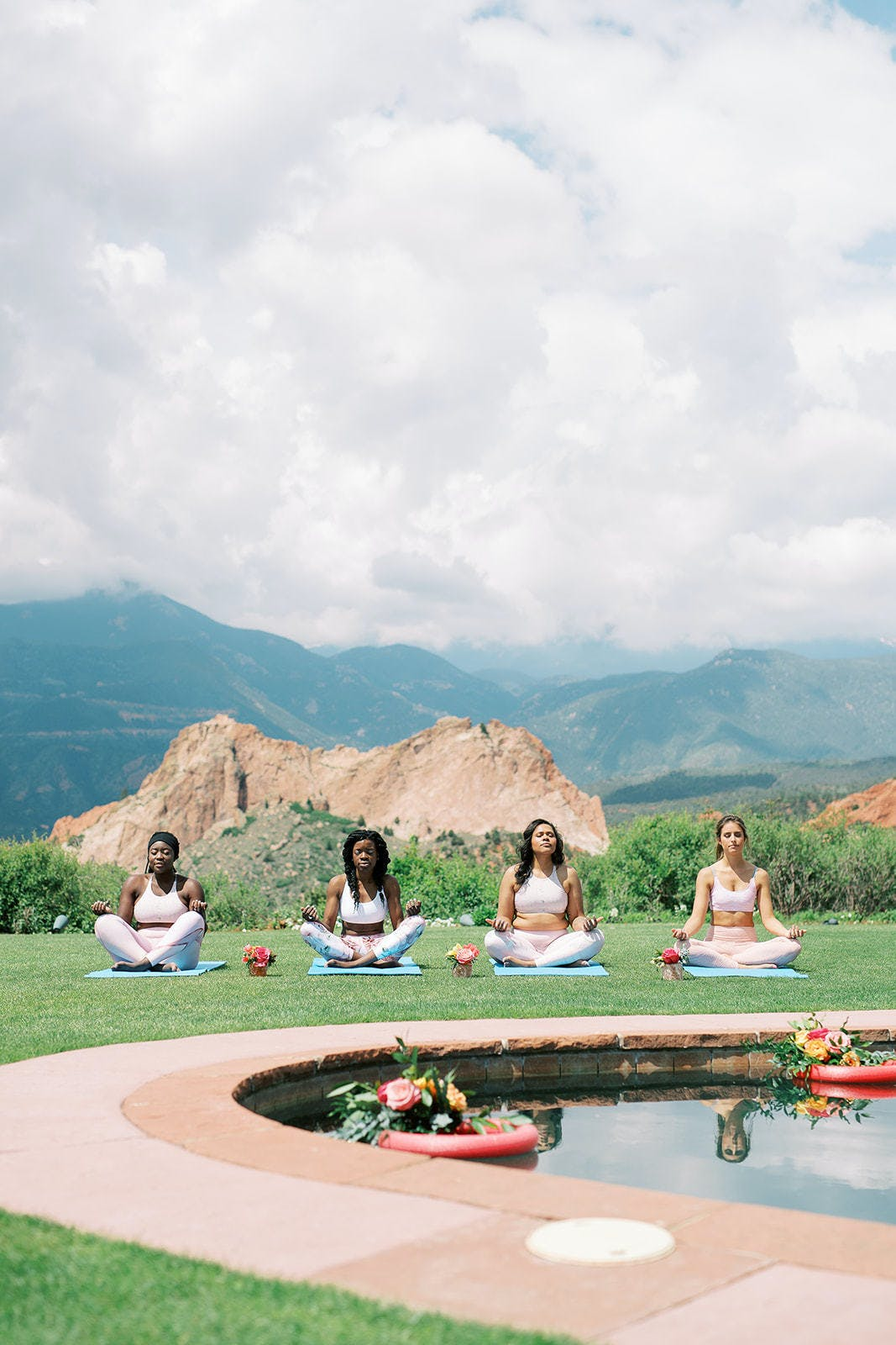 Four friends do poolside yoga at bachelorette party in Denver, CO   Partyslate