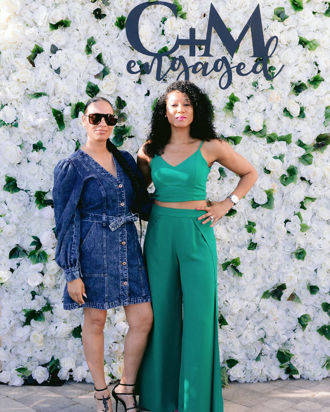 Floral photo backdrop for summer engagement party | PartySlate