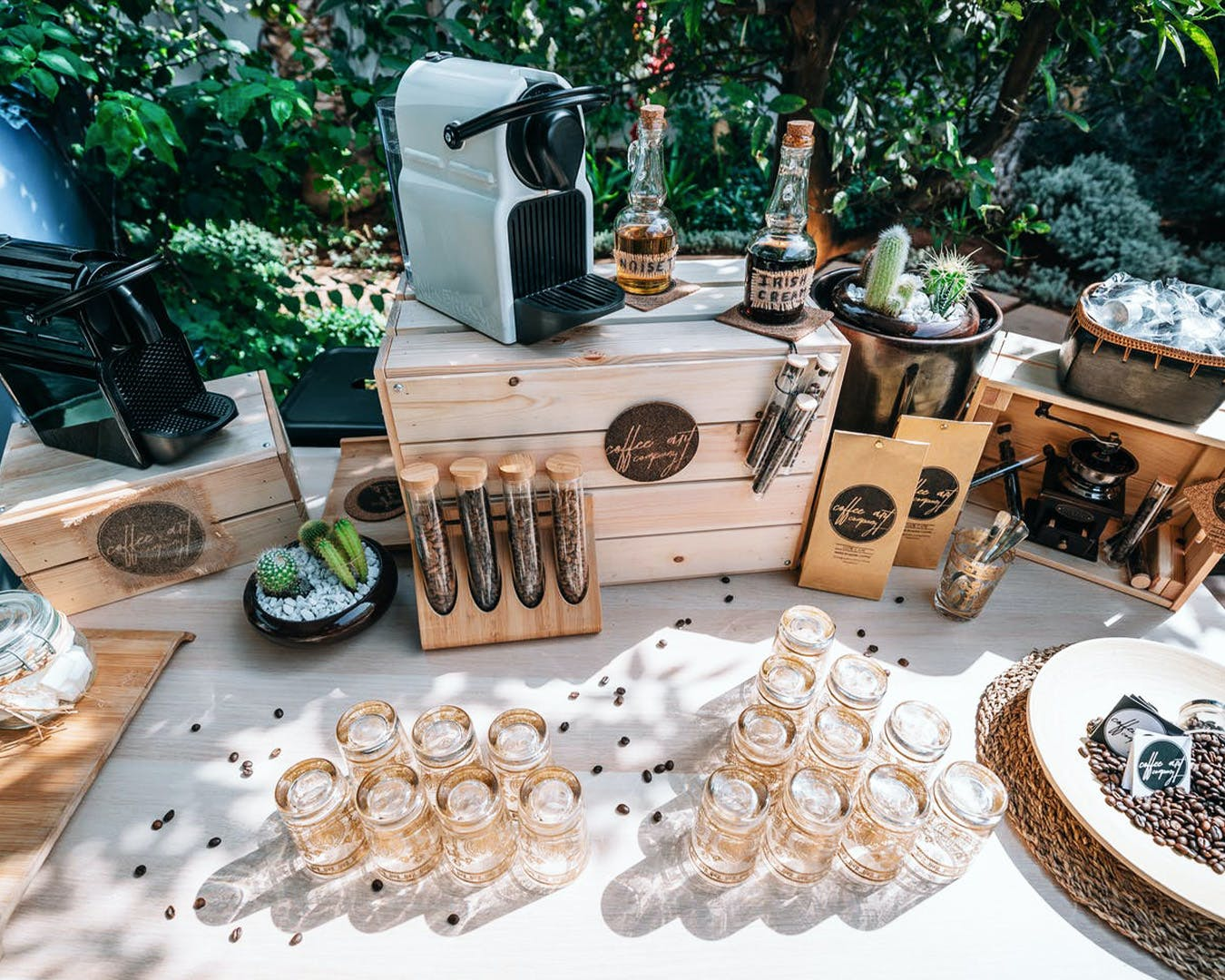Coffee station at outdoor engagement party | PartySlate