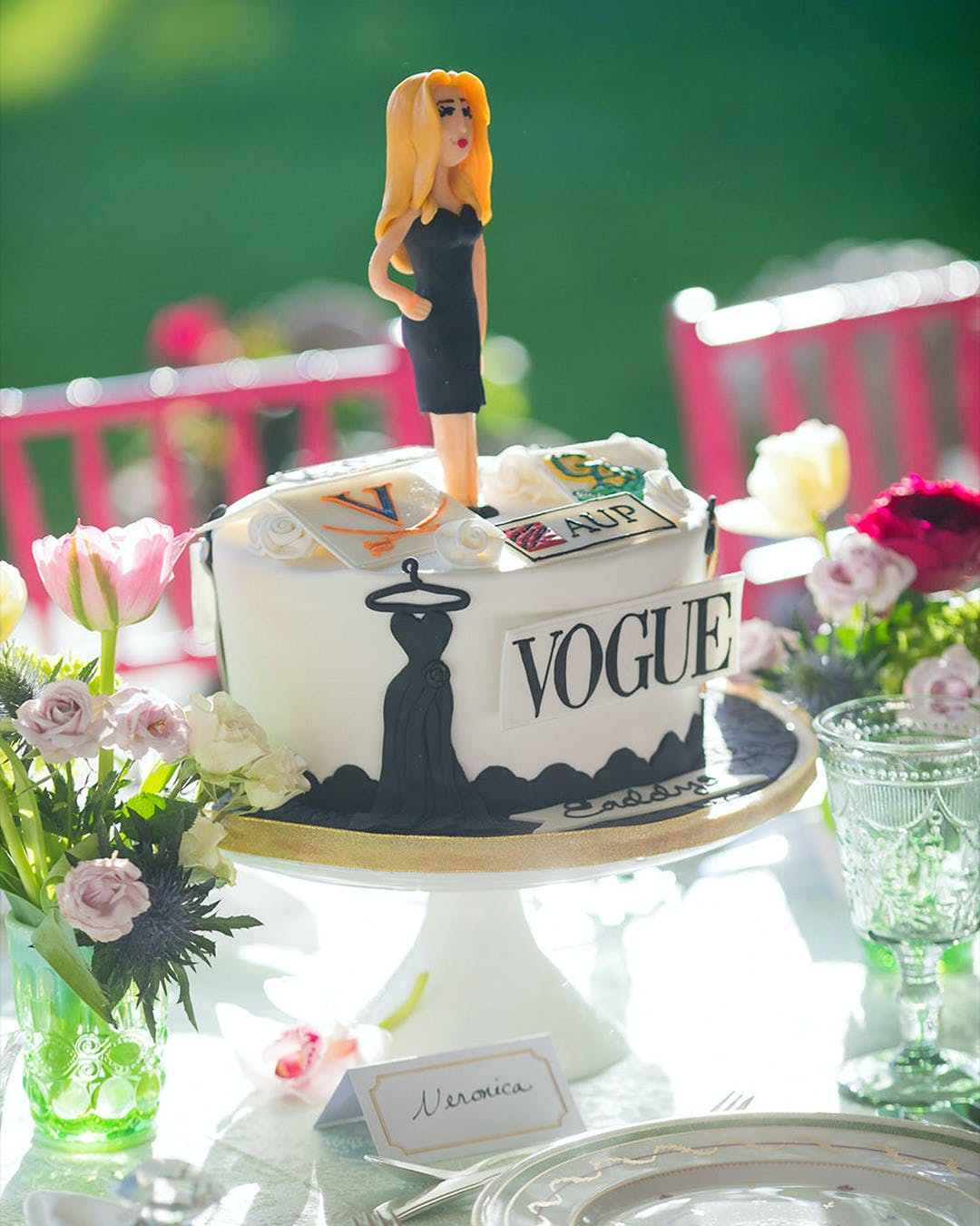 Vogue-themed cake centerpiece at engagement party | PartySlate
