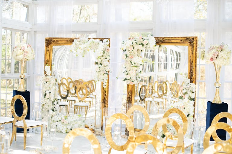 Gold and White Mod and Glamorous Wedding Planned by SwaLaRue Events of Houston, TX   PartySlate