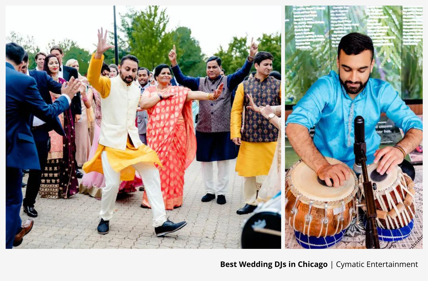 south asian wedding entertainment with man dancing and another playing drums | PartySlate