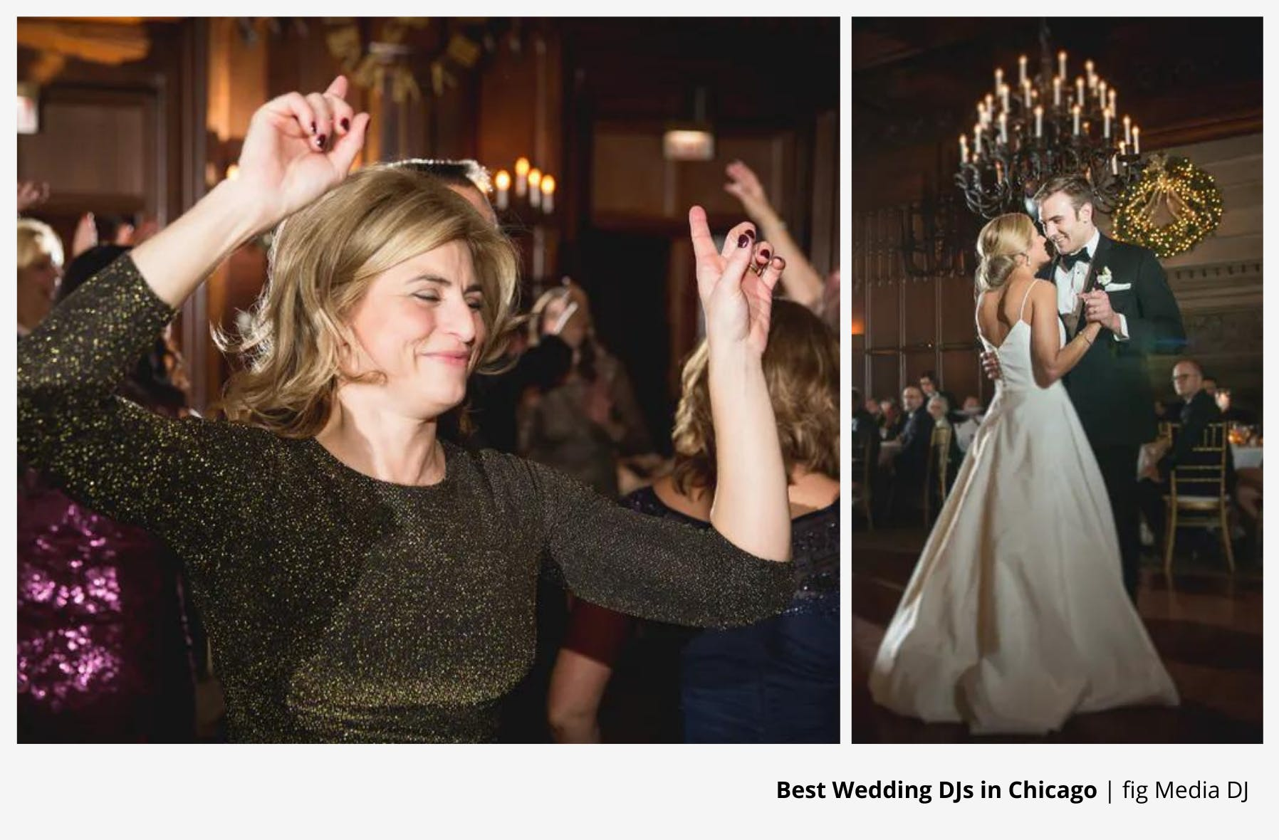 woman dancing with hands in air and a couple dancing their first dance to wedding dj entertainment | PartySlate