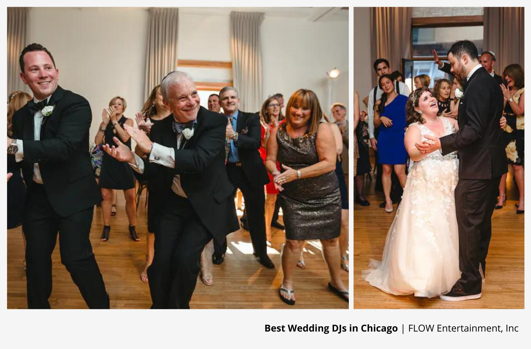line dance of happy guests on wedding dance floor and couple having first dance to wedding dj entertainment | PartySlate