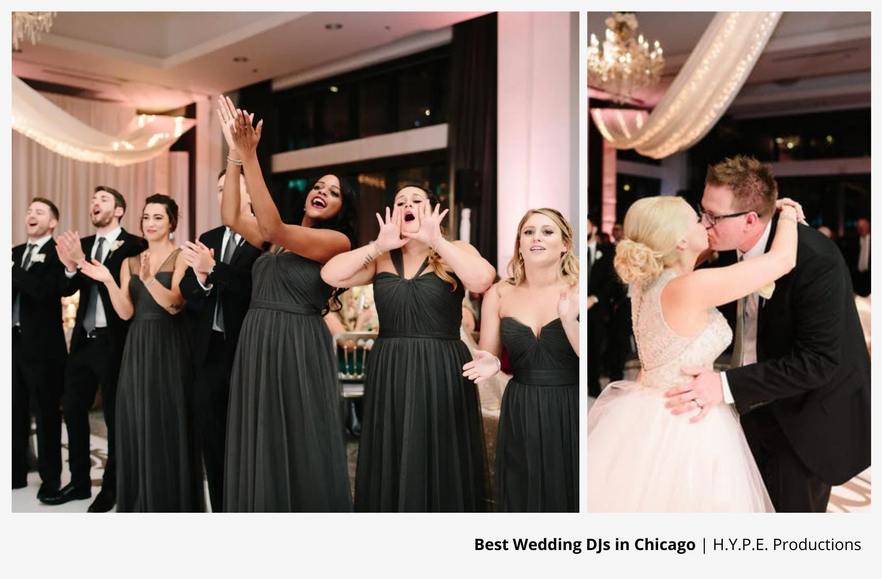 wedding guests cheering on couple as they kiss during their first dance to wedding dj entertainment | PartySlate