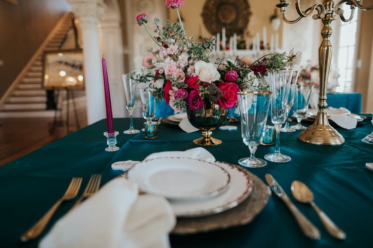 Jewel-Toned Wedding Tablescape Planned by Lillie Jane Designs of Houston, TX   PartySlate