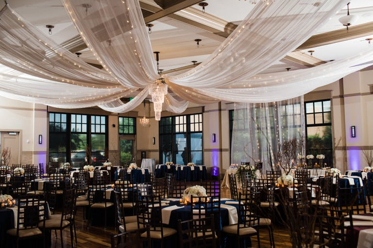 Wedding with ceiling drapery planned by Beck&Call Events of Houston   PartySlate