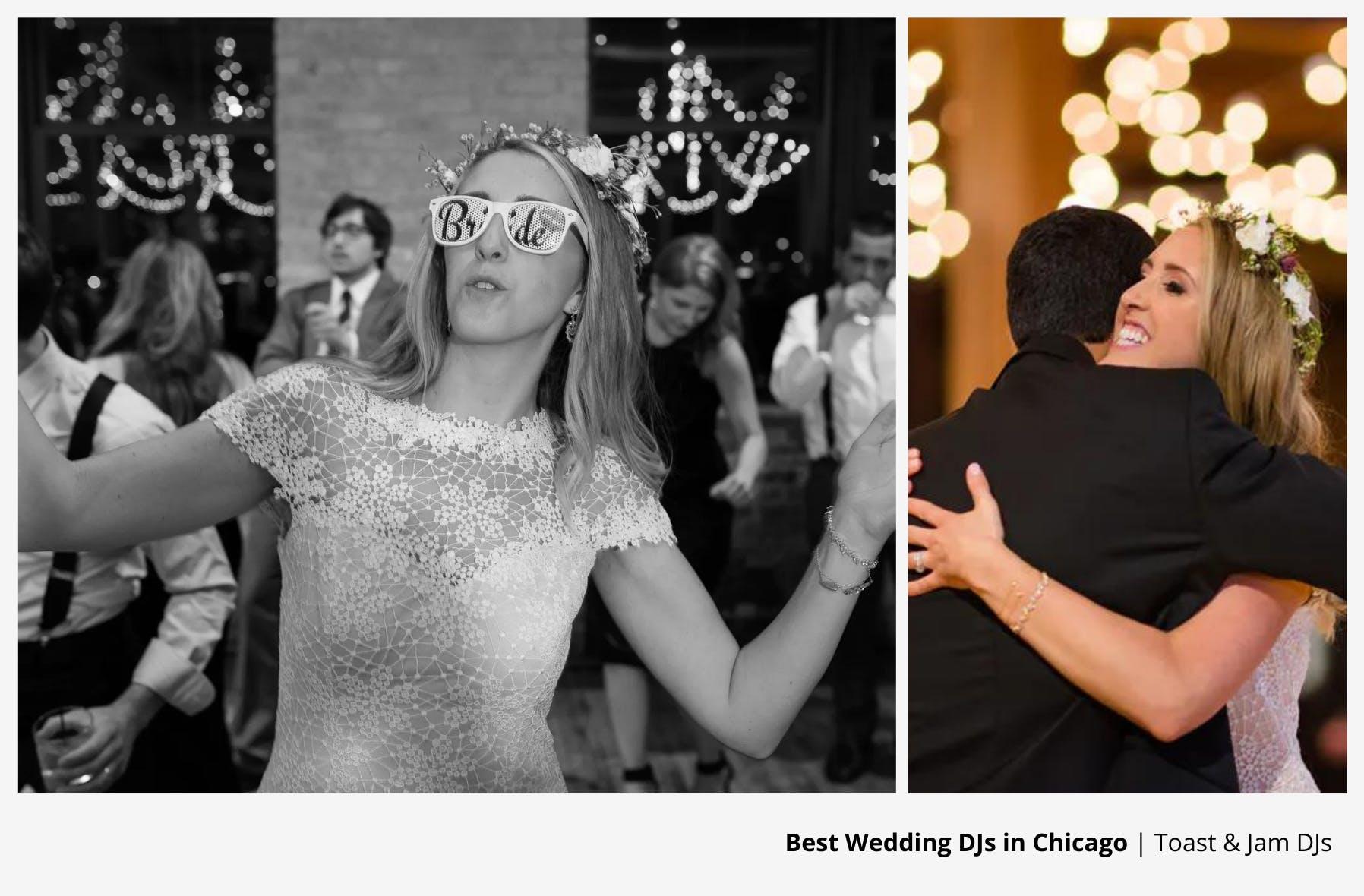 bride in white wearing novelty glasses dancing and bride hugging her husband on dance floor to wedding dj | PartySlate