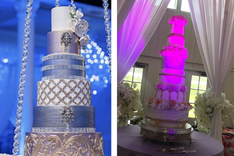 Two towering wedding cakes in pink and blue by Wedding Cakes by Tammy Allen of Houston, TX   PartySlate