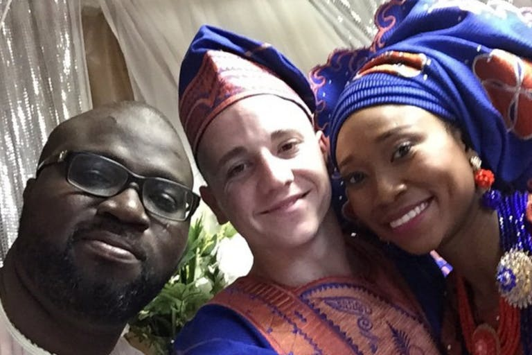 DJ 6 Double 0 Poses with Bride and Groom at Multi-Cultural Wedding   PartySlate