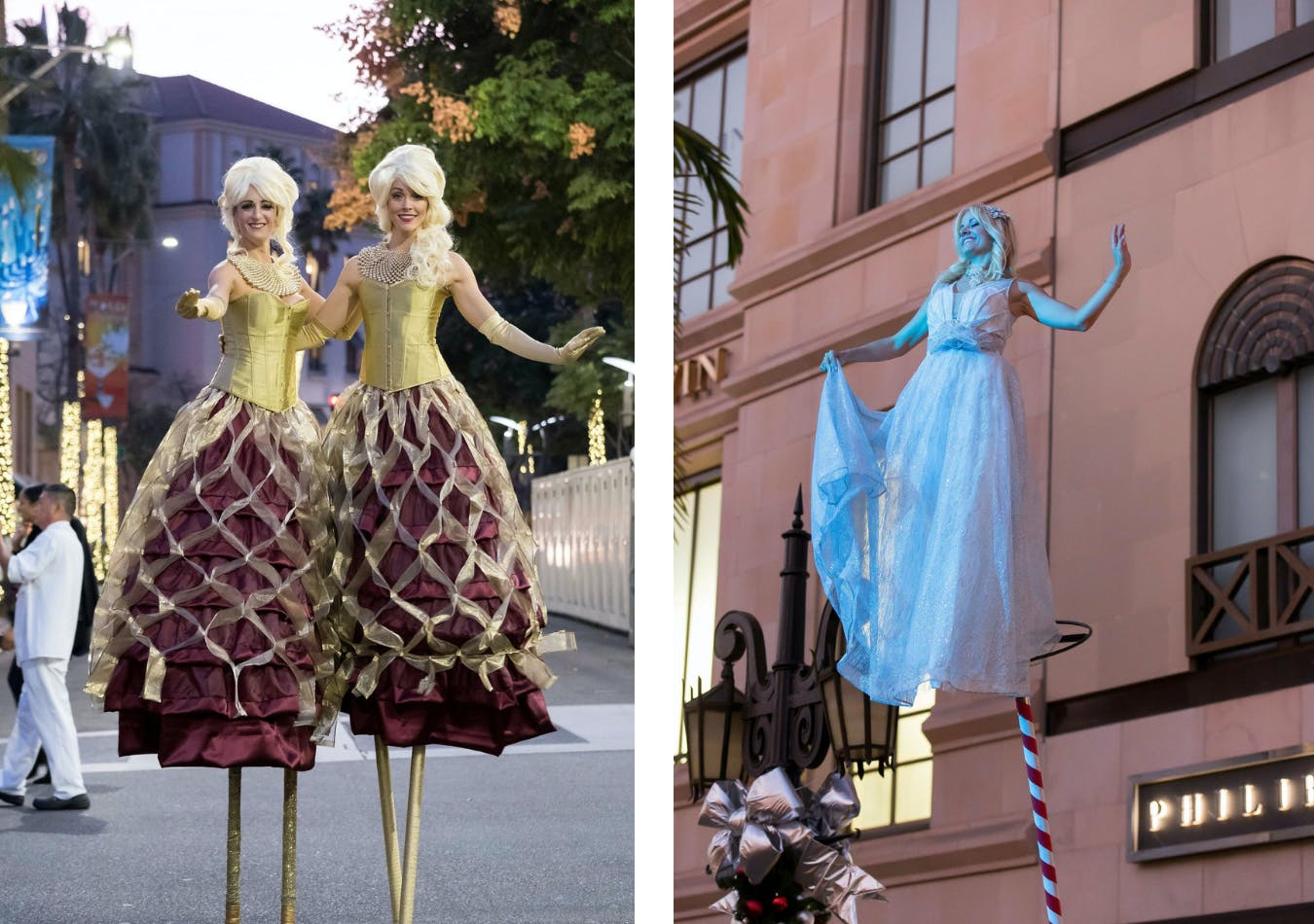 Stilt walkers greet guests on rodeo drive for corporate holiday event | PartySlate