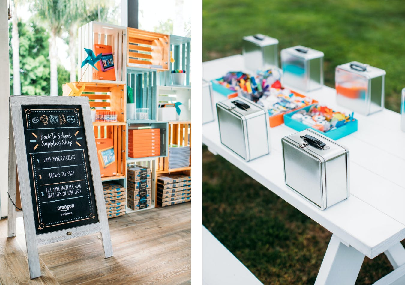 Amazon back-to-school event with a design your own lunch box activity station | PartySlate