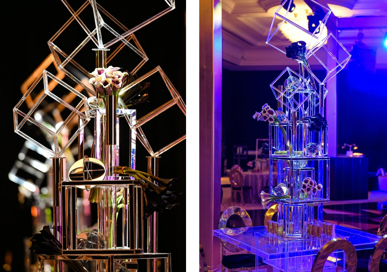 Stacked cubed geometric centerpieces for B'nai Mitzvah party | PartySlate