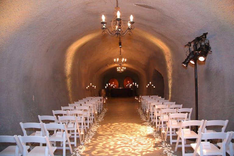 Indoor Winery Cavern Wedding Ceremony Space at Wente Vineyards   PartySlate