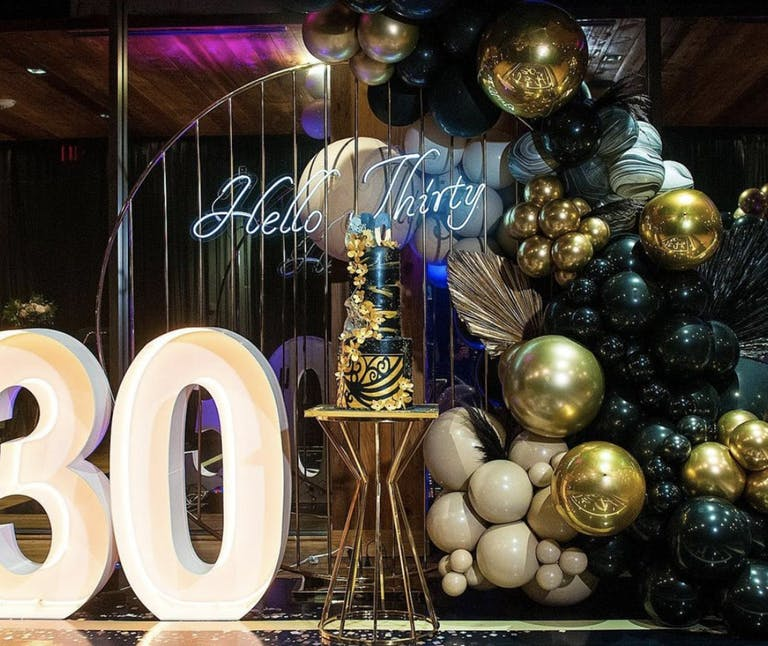 30th-Birthday Gold and Black Glam Rentals by Perfectly Posh Event Rentals of Houston, TX   PartySlate