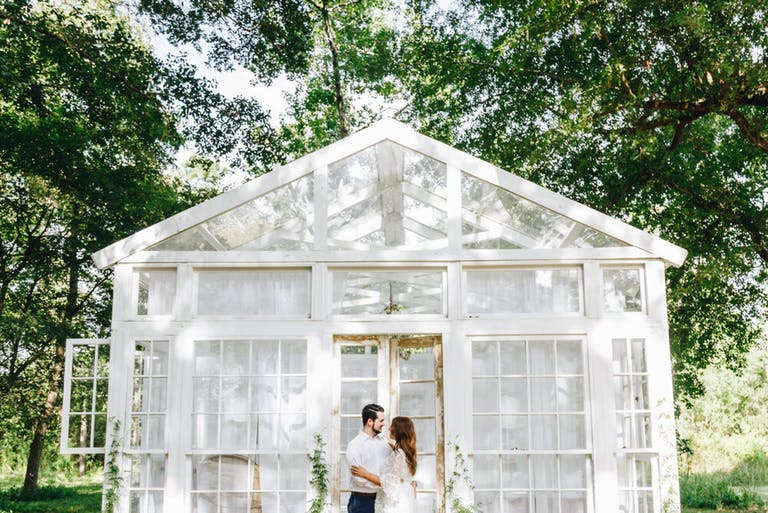 First look for bride and groom in front of The Willow space at The Oak Atelier   PartySlate