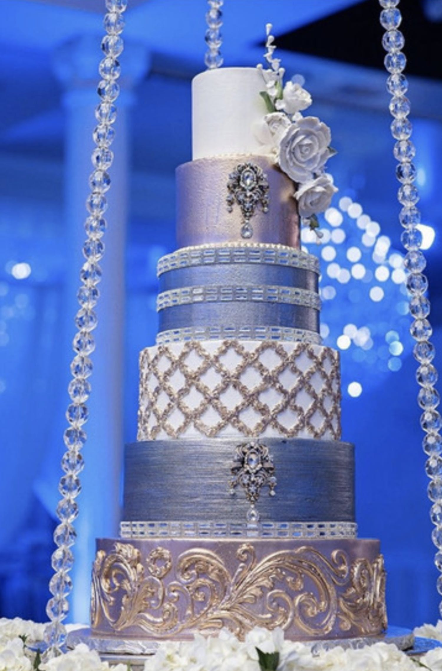 Six-tier metallic silver wedding cake with Jeweled Details | PartySlate