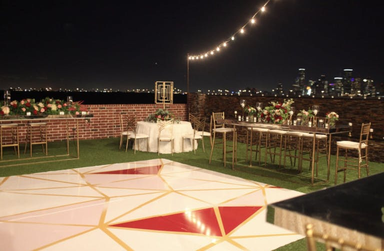 Outdoor Wedding With Red and Gold Geometric Dance Floor Planned by Kashmere Productions of Houston, TX   PartySlate