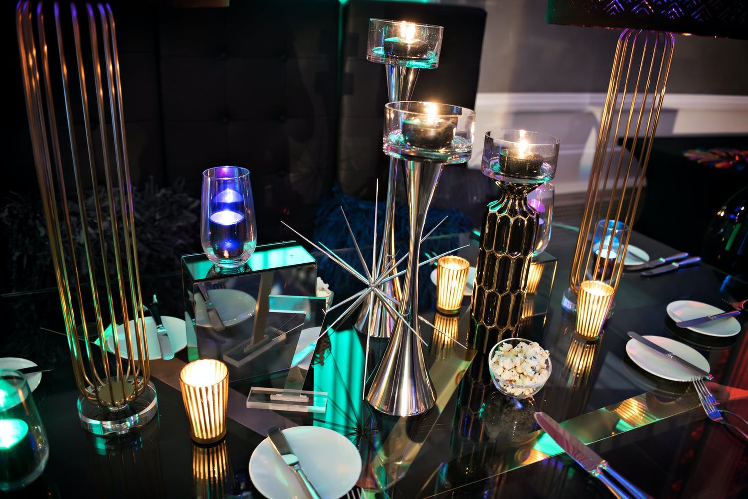 Bar Mitzvah geometric centerpieces with a spiky structure that serves as a candle holder | PartySlate