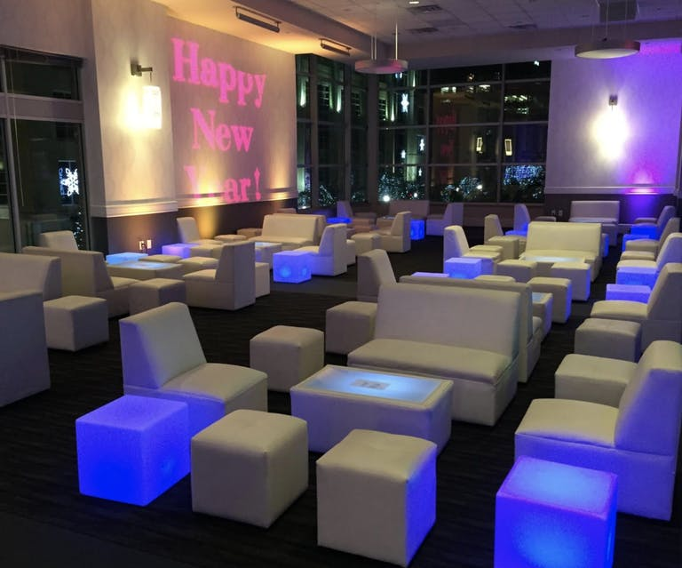 Neon Blue Square Foot Stools by UNIK, a Black-Owned Rental Company in Houston, TX   PartySlate