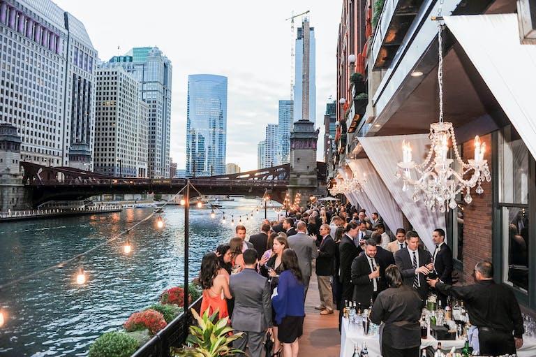 Wedding reception at River Roast Social House alongside Chicago River   PartySlate