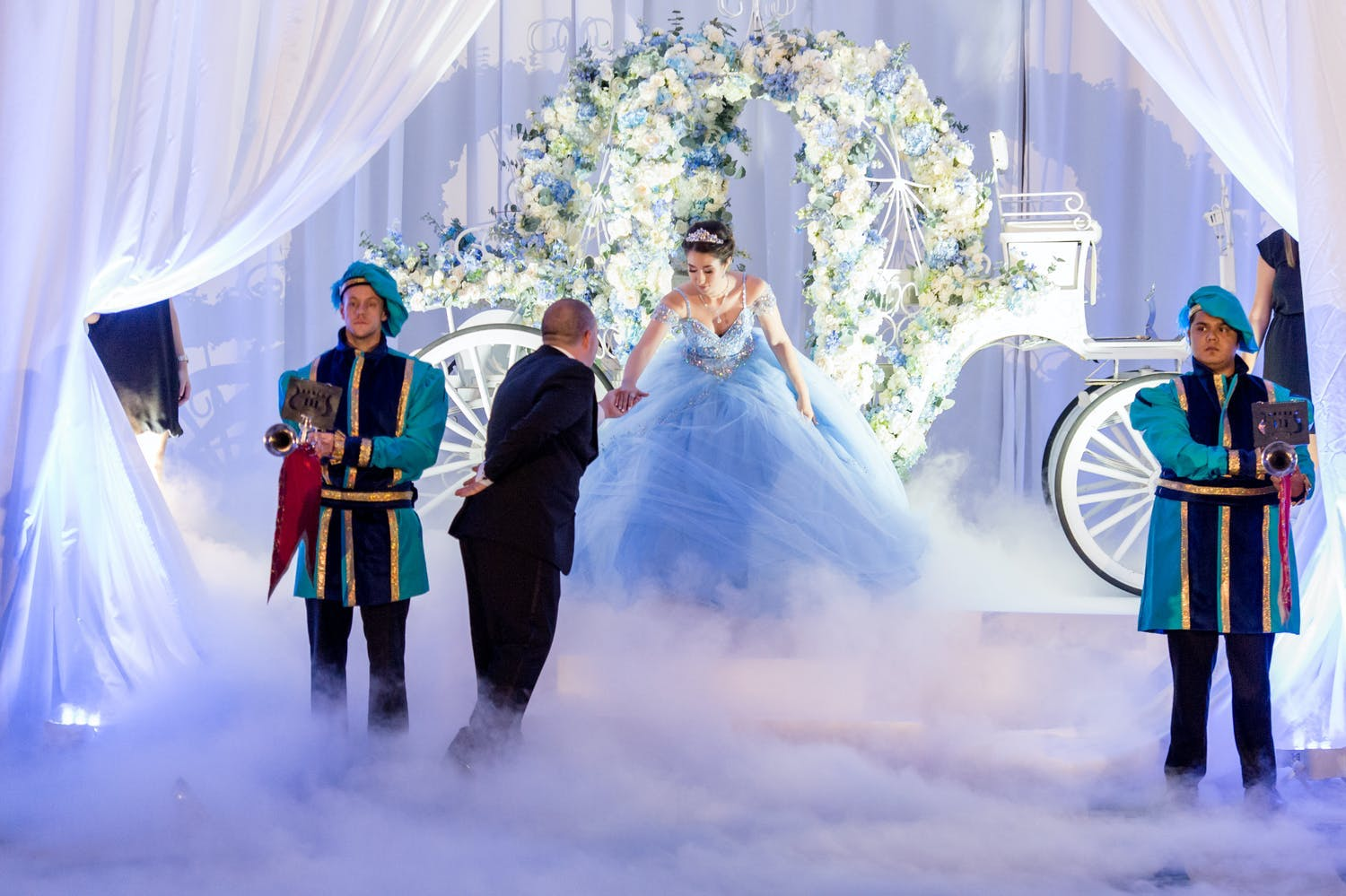 Grand Entrance from Cinderella's Carriage at Fairytale Quinceañera | PartySlate