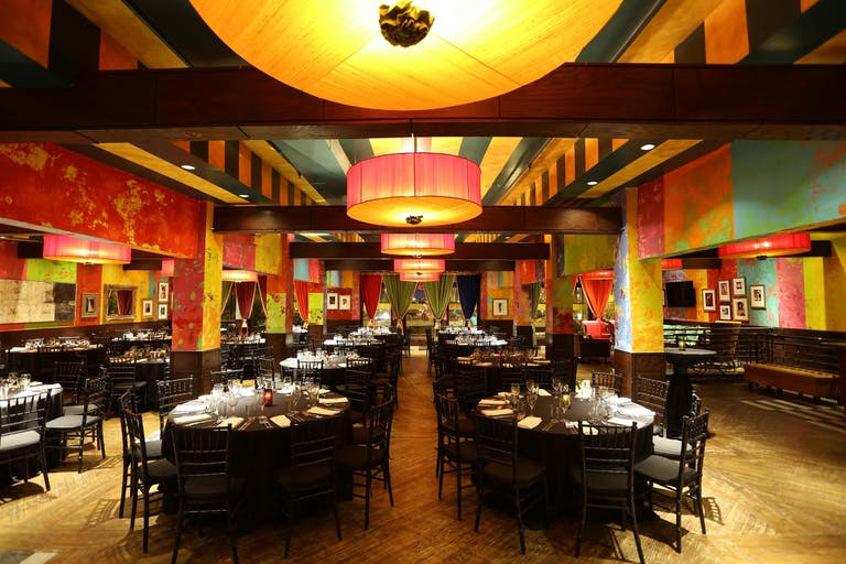 Colorful and eclectic Samba Room at Carnivale for a Restaurant Wedding in Chicago   PartySlate