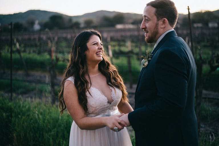 Bride and Groom's first look outside Casa Real at Ruby Hill Winery in Pleasanton, CA   PartySlate