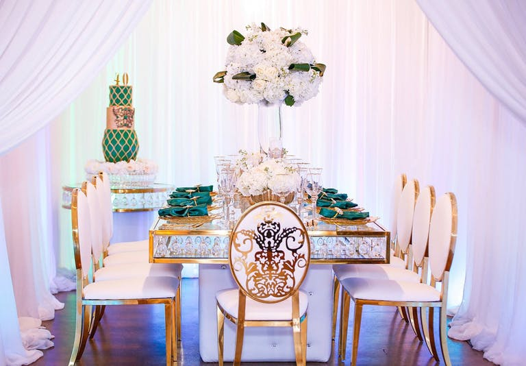 Gold and Green Glam 40th-Birthday Dinner Party Planned by Chloe Cook Events from Houston, TX   PartySlate