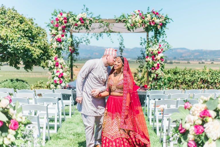 VIBRANT PINK AND GOLD VINEYARD WEDDING AT VIANSA SONOMA IN SONOMA, CA   PARTYSLATE