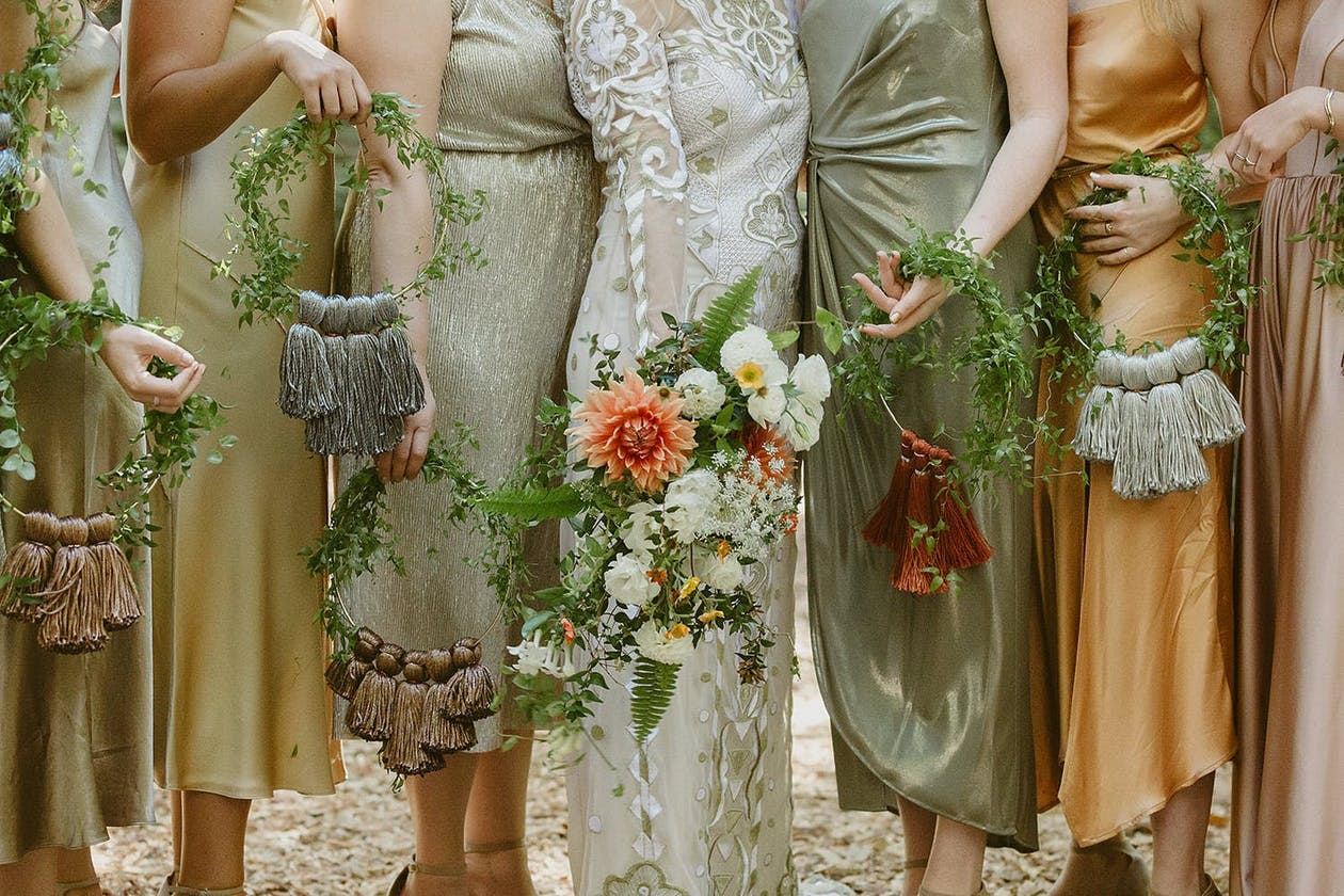 Boho wedding with hoop bridal bouquets   PartySlate