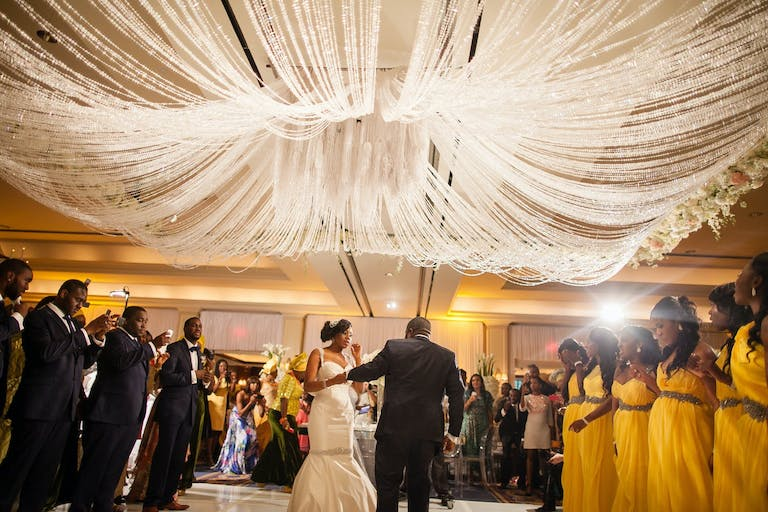 Wedding With Shimmering Tassel Ceiling Installation Planned by Doyin Fash Events of Houston, TX   PartySlate