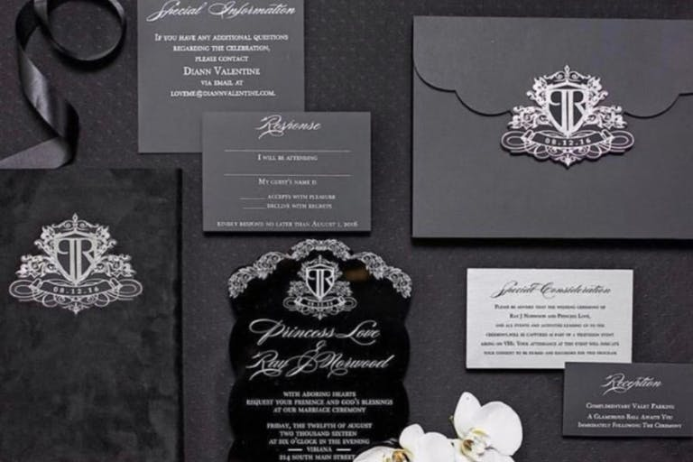 Black and Gray Couture Wedding Invitation Suite by Oda Creative of Houston, TX   PartySlate