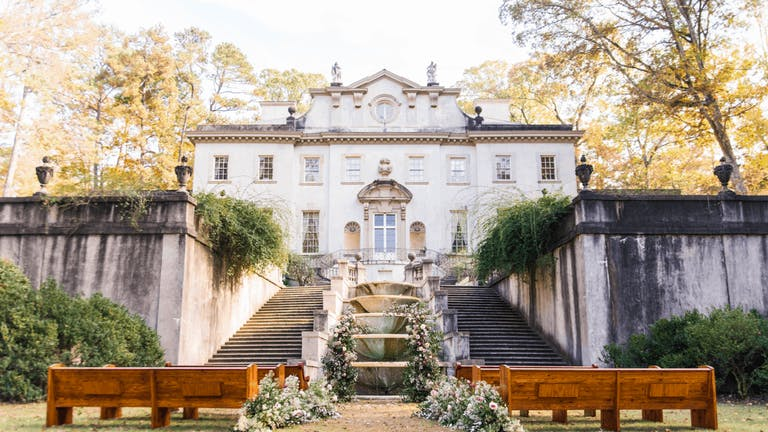 Wedding Flowers Cover Fountain at The Swan House Gardens in Atlanta, GA   PartySlate