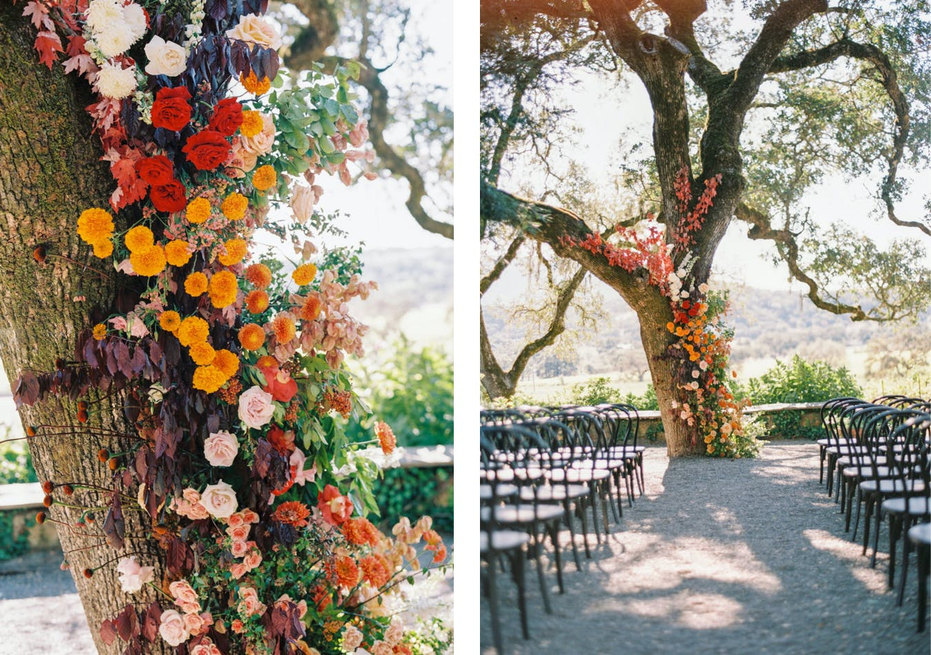 Ancient oak tree covered in bright floral cascade down trunk for wedding ceremony backdrop   PartySlate