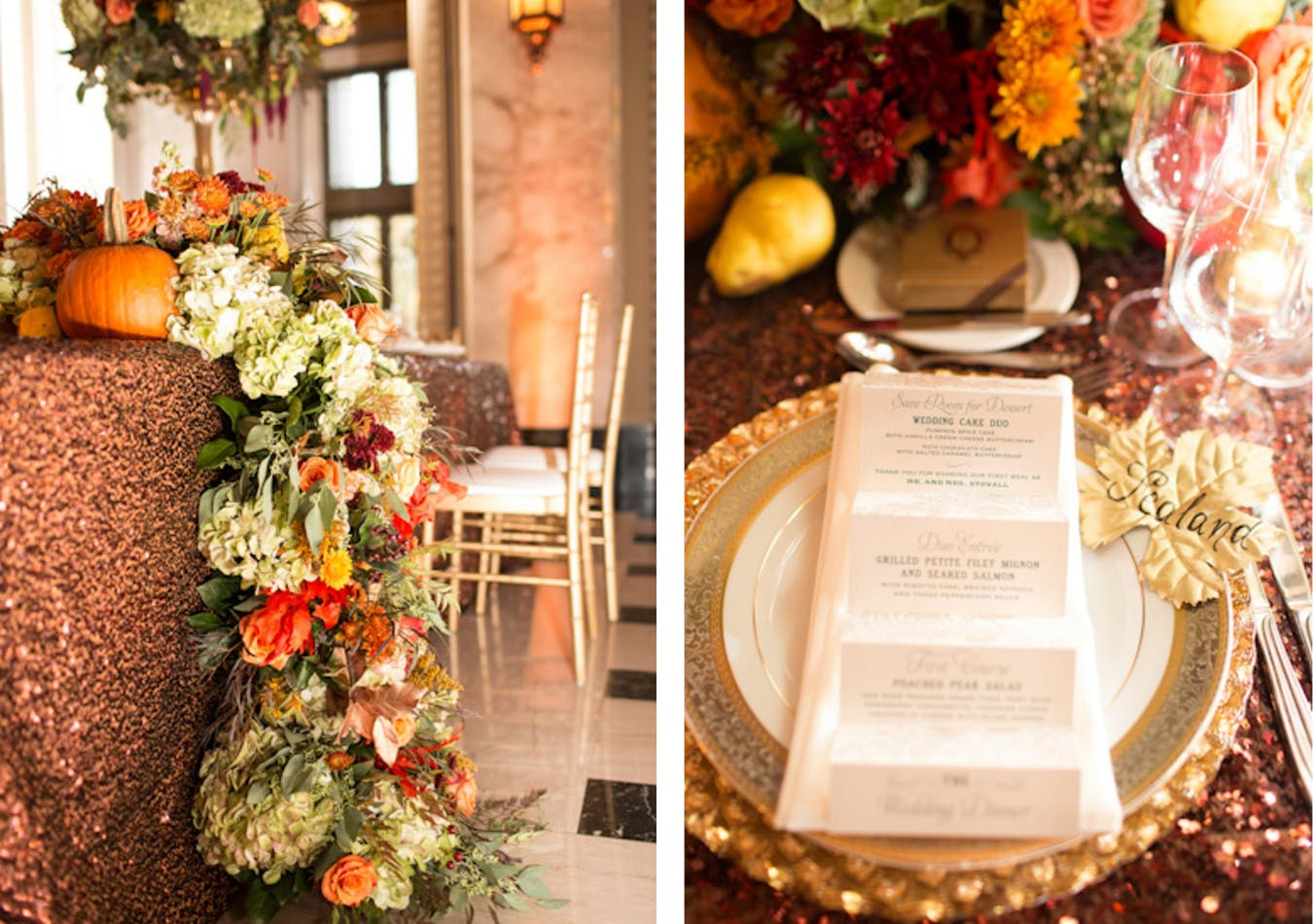 Fall wedding reception table with pumpkin décor and maple leaf place card   PartySlate