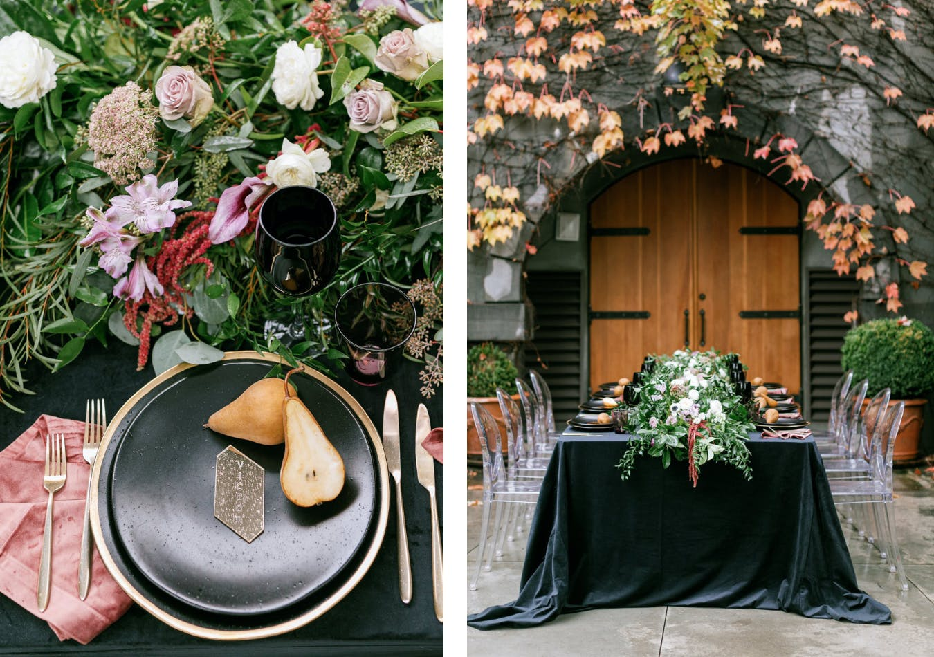 Romantic fall wedding dinner with black linen, pear accents, and backdrop of ivy and autumn leaves   PartySlate
