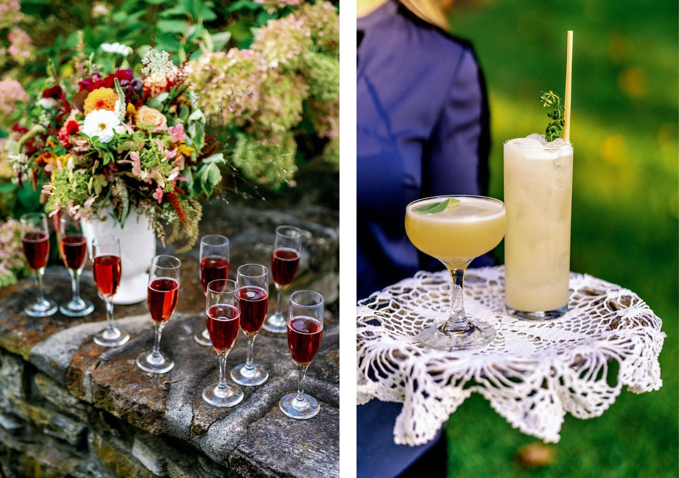 Autumn wedding with red sparkling wine and gold cocktails   PartySlate