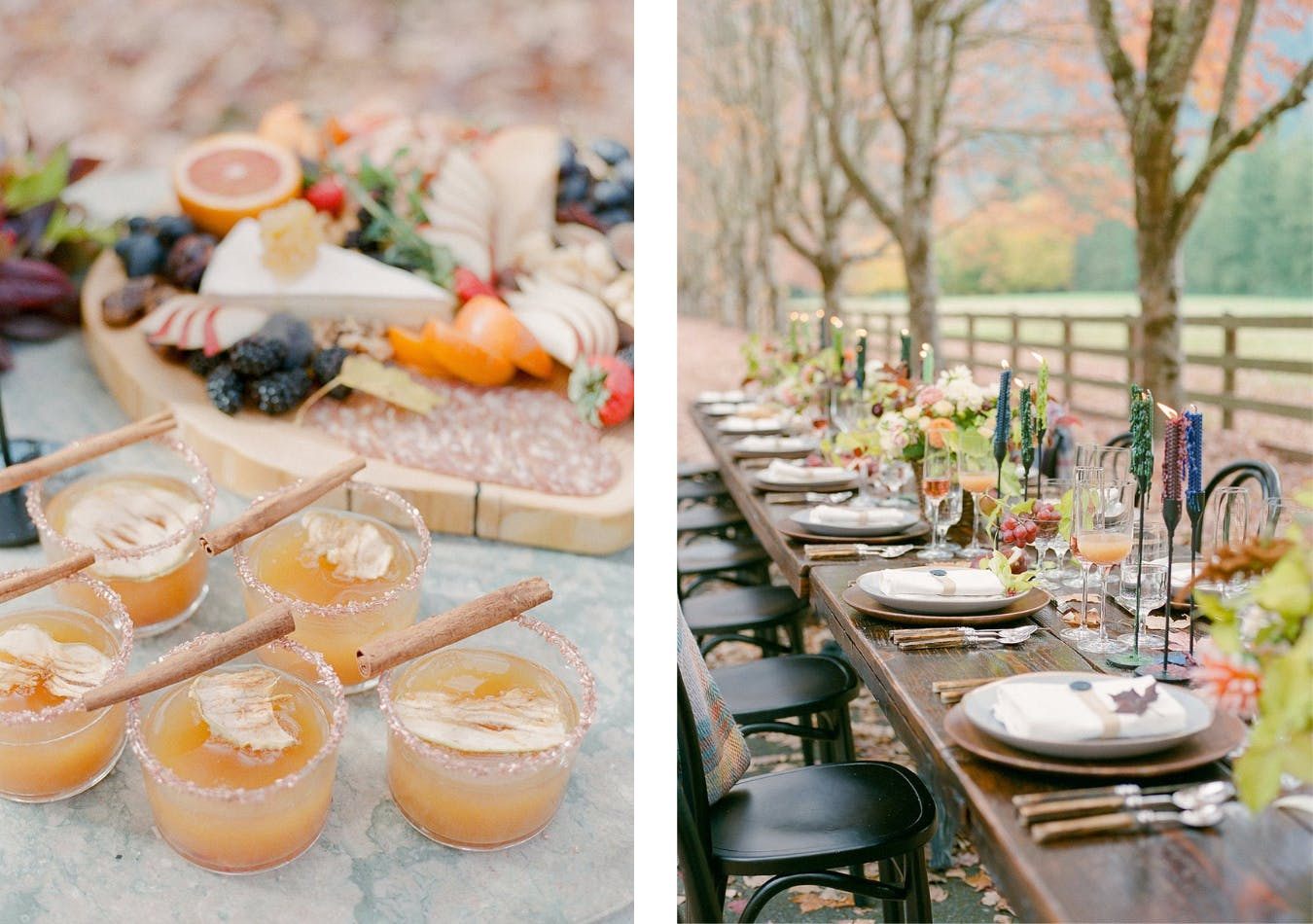 Fall outdoor thanksgiving tablescape with apple cider spiced cocktails   PartySlate