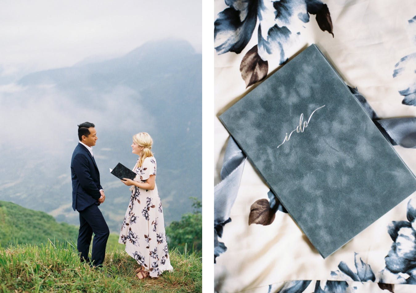 Couples renews vows in mist-filled Vietnamese mountains with custom-made navy vow books | PartySlate
