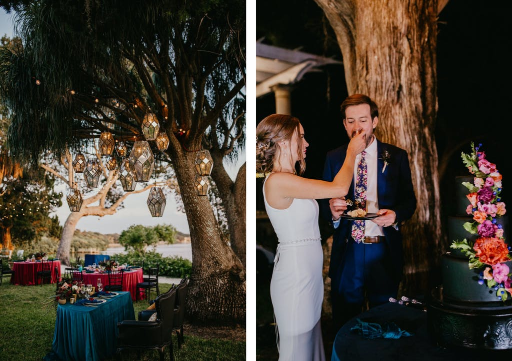 Small wedding with lantern-lit trees, blue and pink velvet linen, and a black wedding cake with a colorful cascade of blooms   PartySlate
