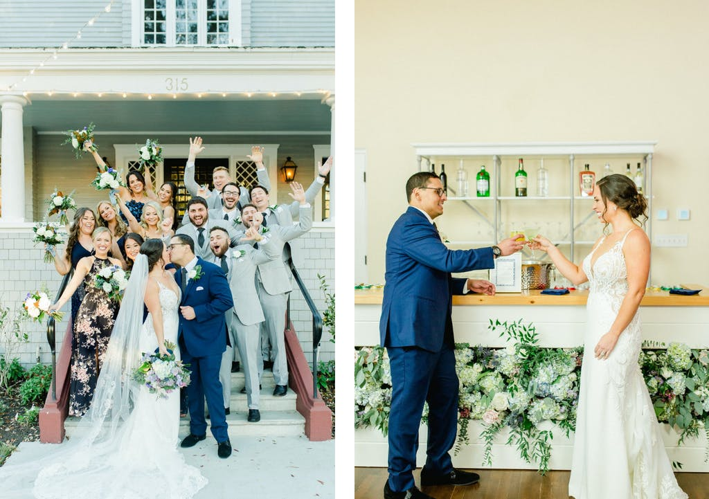 Micro wedding at home-like venue with decorated front steps and floral-covered bar panel   PartySlate