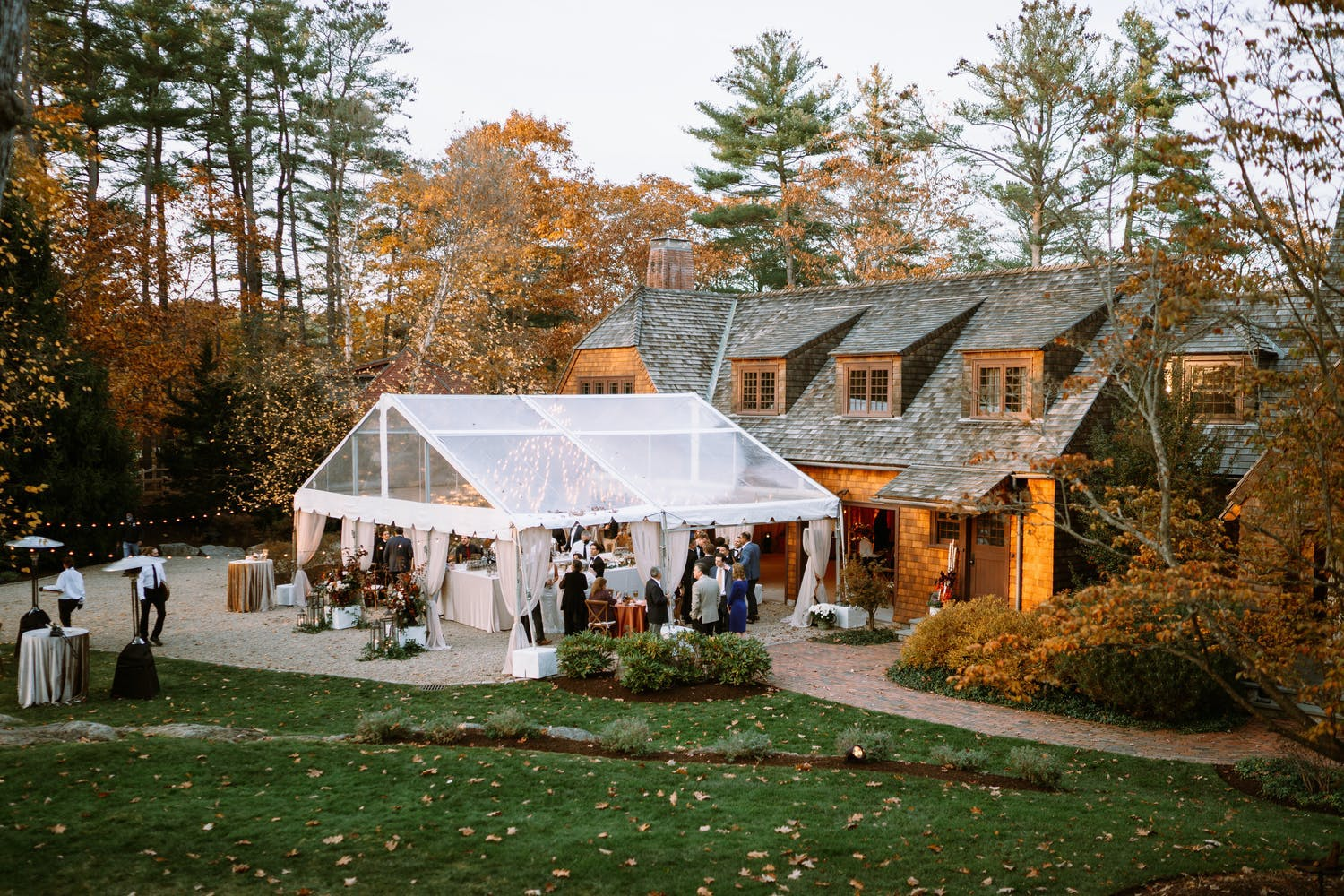 Rustic fall wedding with transparent tenting   PartySlate
