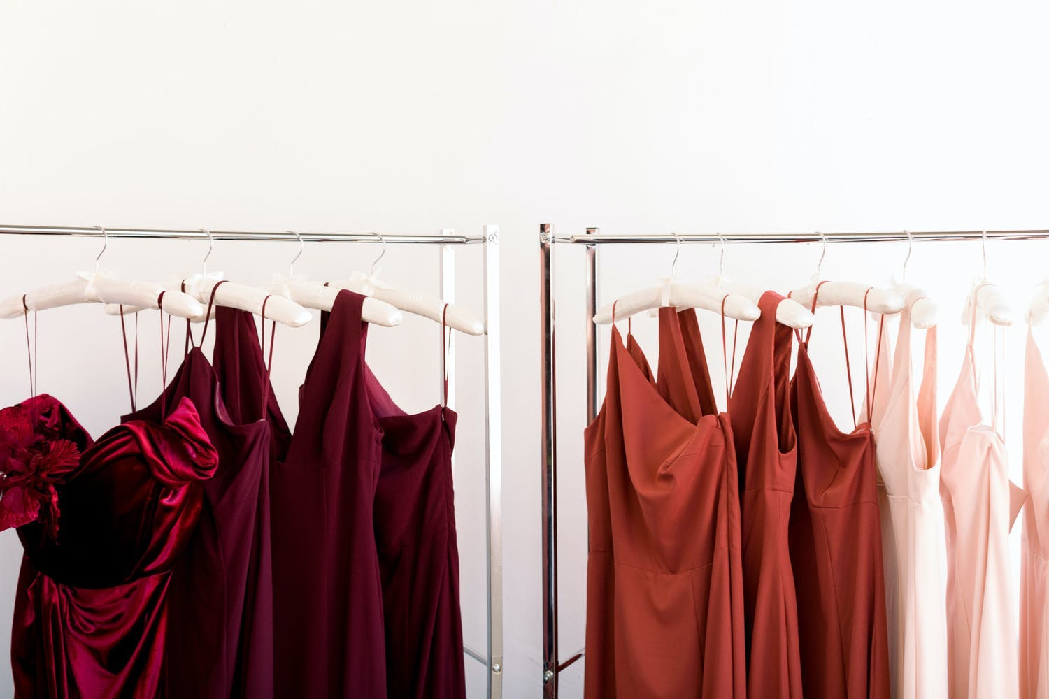 Fall bridesmaid dresses in the same red color family   PartySlate