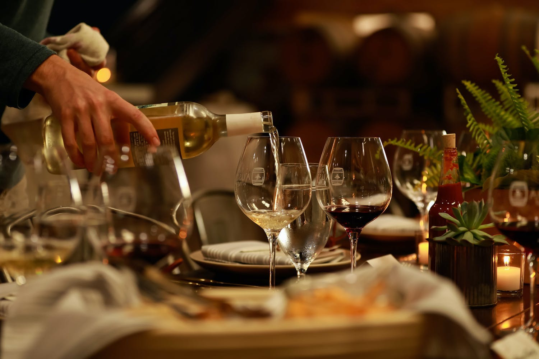 Wine pairings at intimate winery dinner | PartySlate